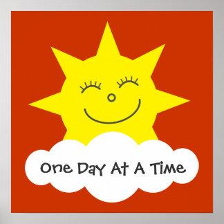 Sun de sorriso um dia em um poster da recuperação