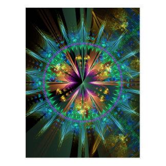 Sun-Explosão Kaleidoscopic azul Cartão Postal