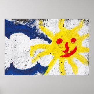 Sun feliz enfrenta o sorriso poster