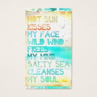 Sun quente beija minha cara que o mar salgado cartão de visitas