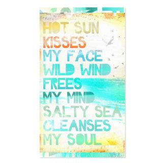 Sun quente beija minha cara que o mar salgado limp cartoes de visita