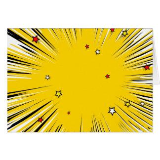Sunburst cómico do amarelo do estilo com estrelas cartão comemorativo
