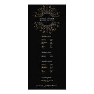 Sunburst elegante do ouro da beleza no preto 10.16 x 22.86cm panfleto