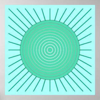 Sunburst geométrico moderno - Aqua e verde de Poster