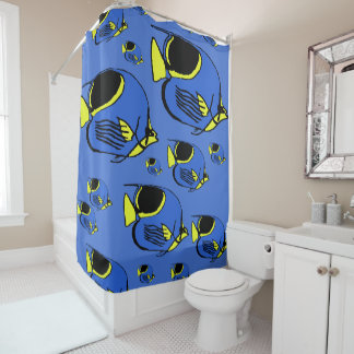 Sunfish azul & amarelo cortina para box