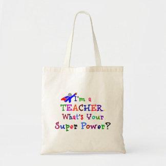 Super-herói do professor sacola tote budget