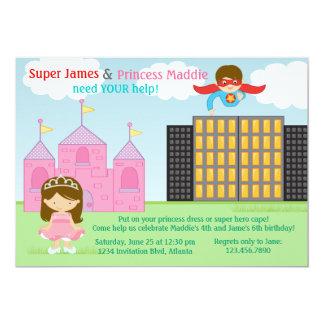 Super-herói e festa de aniversário da princesa convites