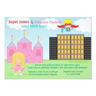 Super-herói e festa de aniversário da princesa convite personalizado