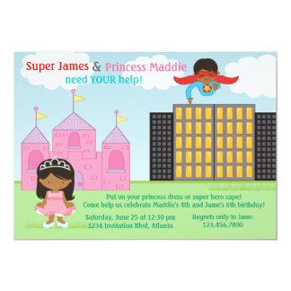 Super-herói e festa de aniversário da princesa convites personalizados
