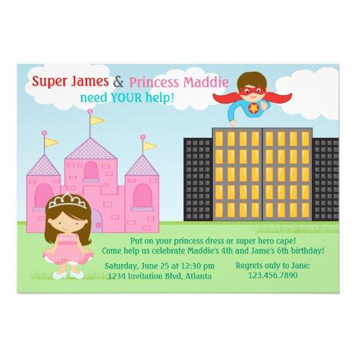 Super-herói e festa de aniversário da princesa Gêm Convites