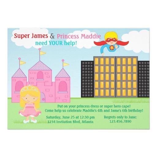 Super-herói e festa de aniversário da princesa Gêm Convite Personalizado
