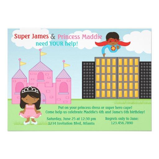 Super-herói e festa de aniversário da princesa Gêm Convites Personalizados