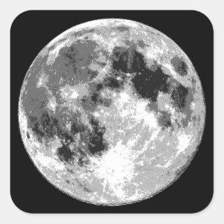 Superfície da lua adesivo quadrado