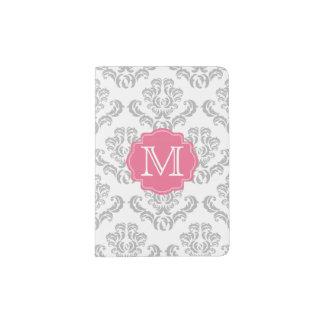 Suporte cinzento do passaporte do monograma da cor capa para passaporte