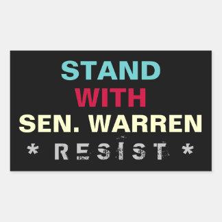 Suporte com etiqueta do senador Warren OPOSIÇÃO