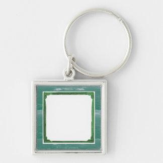 Suporte da imagem/texto da beira do verde de mar chaveiro quadrado na cor prata
