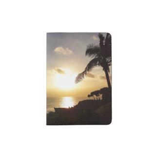 Suporte do passaporte da silhueta do por do sol do capa para passaporte