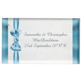 Suporte Para Cartão De Mesa Arco azul Pastel e casamento tradicional branco