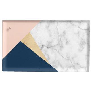 Suporte Para Cartao De Mesa bloco azul da cor do pêssego de mármore branco
