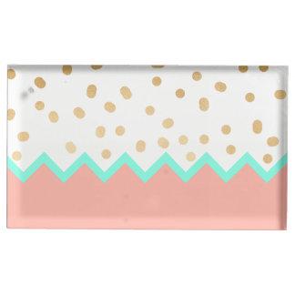 Suporte Para Cartão De Mesa bolinhas bonitos hortelã e rosa do ouro do falso
