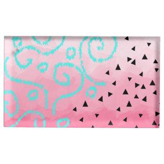 Suporte Para Cartão De Mesa brushstroke geométrico do rosa do teste padrão do