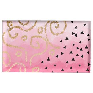 Suporte Para Cartão De Mesa brushstrokes geométricos do rosa cor-de-rosa do