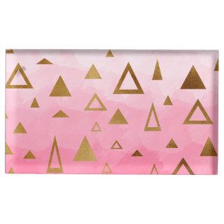 Suporte Para Cartão De Mesa brushstrokes geométricos do rosa pastel dos