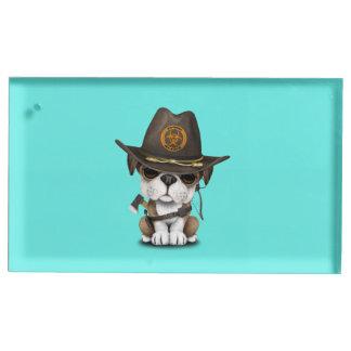 Suporte Para Cartão De Mesa Caçador bonito do zombi do filhote de cachorro do