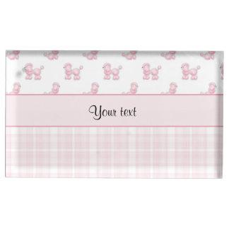 Suporte Para Cartão De Mesa Caniches & verificações cor-de-rosa do rosa