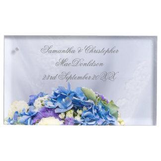 Suporte Para Cartão De Mesa Casamento azul do buquê das noivas da flor
