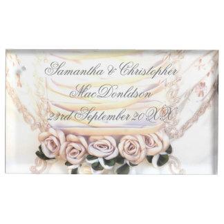 Suporte Para Cartão De Mesa Casamento cor-de-rosa do buquê das noivas da flor