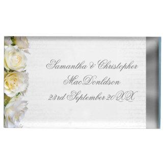 Suporte Para Cartão De Mesa Casamento floral e de prata da flor do rosa branco