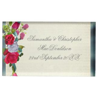 Suporte Para Cartão De Mesa Casamento floral e de prata do buquê da flor