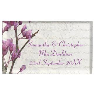 Suporte Para Cartão De Mesa Casamento floral malva bonito da flor da flor