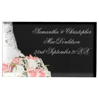 Suporte Para Cartão De Mesa Casamento preto e branco chique do rosa do rosa