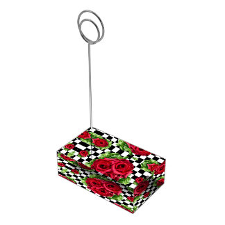 Suporte Para Cartao De Mesa Checkered Rockabilly do amor floral do buquê das