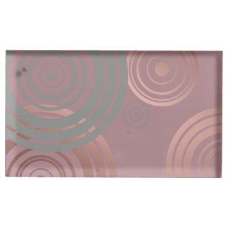 Suporte Para Cartão De Mesa círculos geométricos cinzentos do ouro cor-de-rosa
