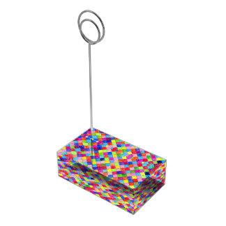 Suporte Para Cartão De Mesa Colorido colorido em quadrados do papel de gráfico