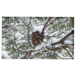 Suporte Para Cartão De Mesa Fotografia nevado da natureza do inverno do cone