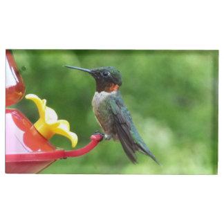 Suporte Para Cartão De Mesa Fotografia Rubi-Throated do pássaro do colibri