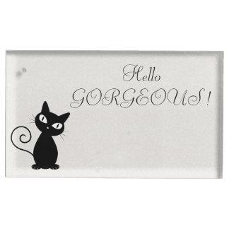 Suporte Para Cartão De Mesa Gato preto lunático subtil Glittery-Olá! lindo