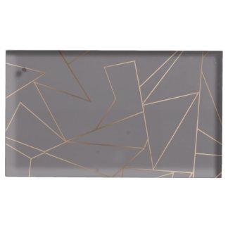 Suporte Para Cartão De Mesa Geométrico minimalista moderno elegante do ouro