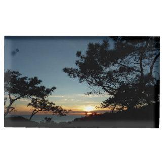 Suporte Para Cartão De Mesa Paisagem do por do sol III Califórnia do pinho de