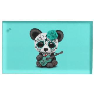 Suporte Para Cartão De Mesa Panda azul do crânio do açúcar que joga a guitarra