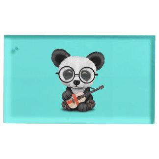 Suporte Para Cartão De Mesa Panda do bebê que joga a guitarra inglesa da