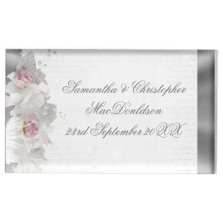 Suporte Para Cartão De Mesa Rosa do rosa da flor branca e casamento de prata