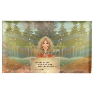 Suporte Para Cartão De Mesa Salmo 126 da queda do conto de fadas enchido com a