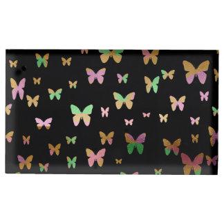 Suporte Para Cartão De Mesa teste padrão de borboleta cor-de-rosa do ouro do