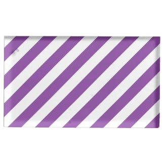Suporte Para Cartão De Mesa Teste padrão diagonal roxo e branco das listras
