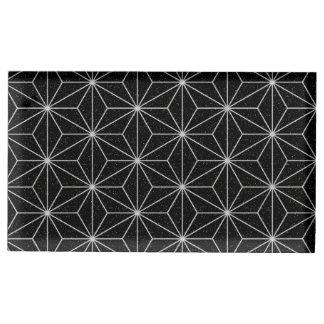 Suporte Para Cartão De Mesa Teste padrão geométrico elegante - prata & Preto